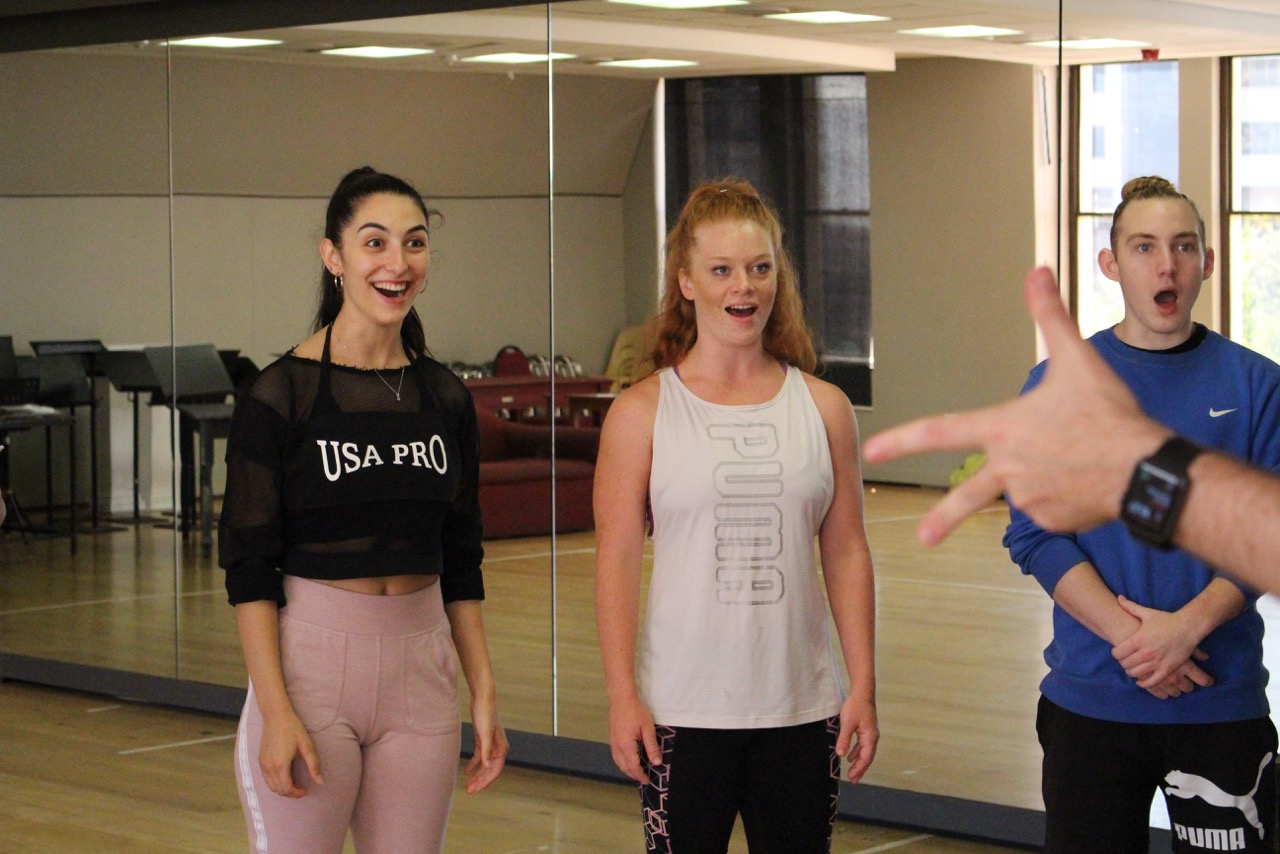 Nicolette Fernandes, Chloe Perling and Devin Butterworth rehearse for THE PRODUCERS