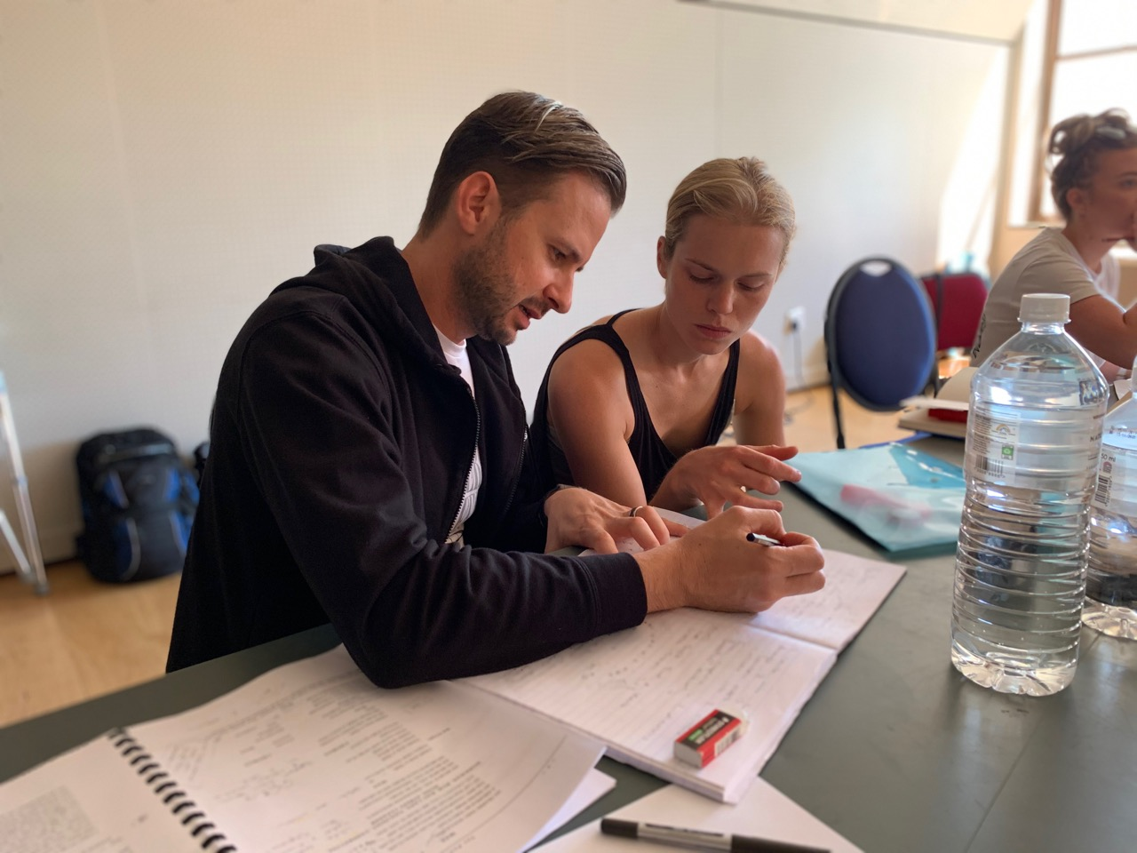 Choreography Duane Alexander consults with Mila De Biaggi during rehearsals for THE PRODUCERS